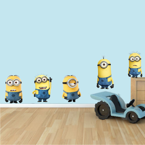 Diy bedroom decorations - Minions Wall Stickers X5 Large Decal Mural Boys Bedroom Logo Ebay