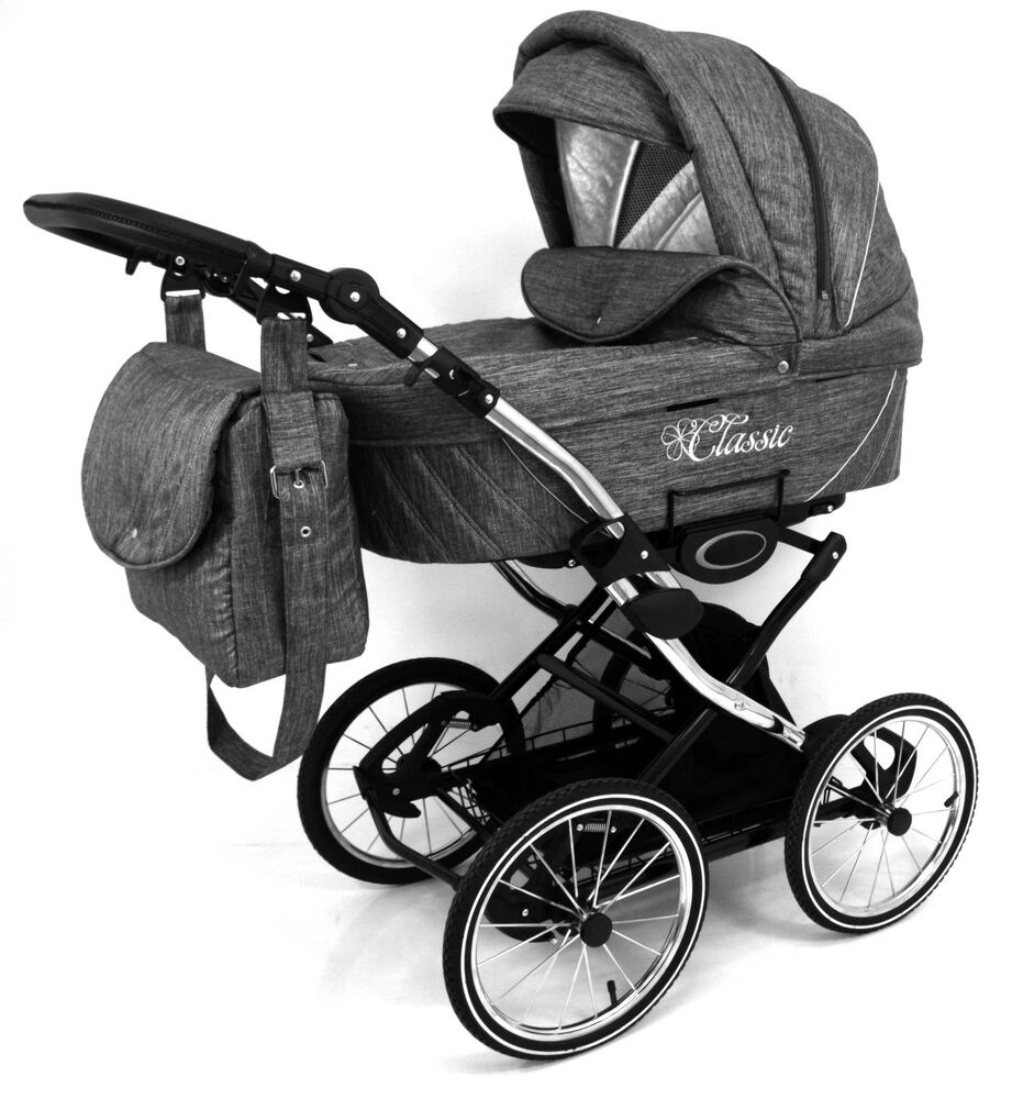 Unique Retro Design Classic Grey Linen Effect Baby Pram