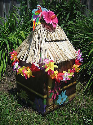 TIKI HUT CARD BOX GRADUATION BEACH WEDDING LUAU PARTY EBay