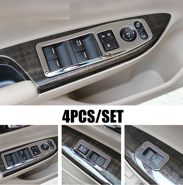 fit for honda accord 13 chrome interior door window switch panel cover trim ebay. Black Bedroom Furniture Sets. Home Design Ideas