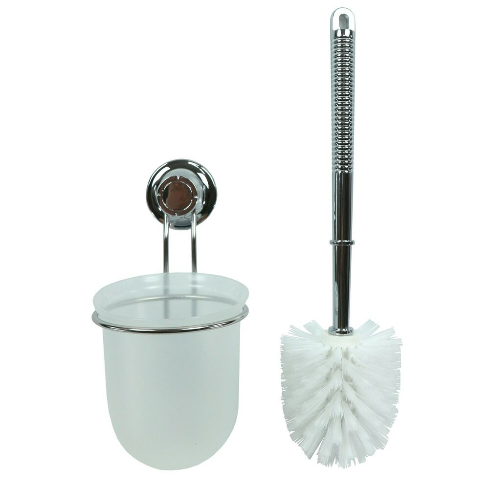 new toilet brush with strong vacuum suction cup wall holder toilet bowl cleaner ebay. Black Bedroom Furniture Sets. Home Design Ideas