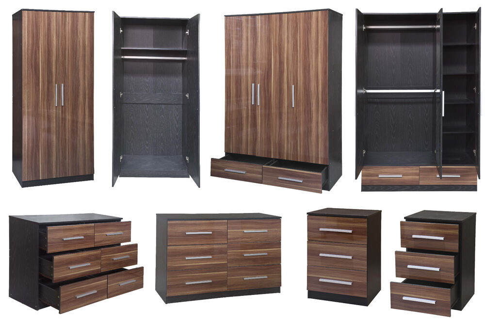 Lotus Super High Gloss Walnut Black Large Modular Bedroom Furniture Set Ebay