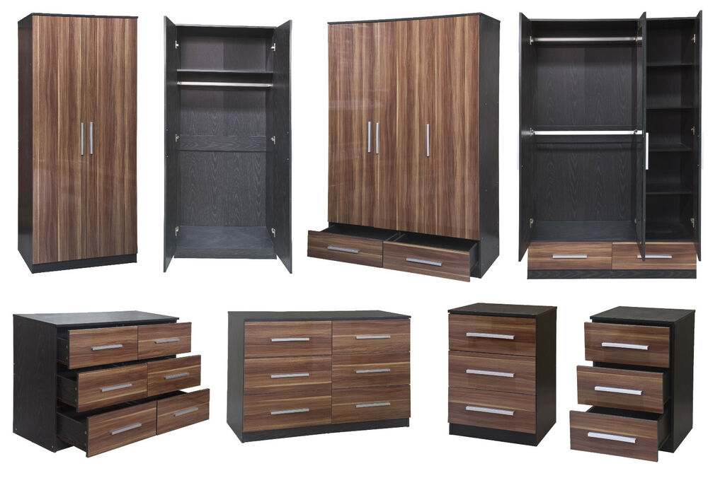 Lotus super high gloss walnut black large modular bedroom for High gloss bedroom furniture