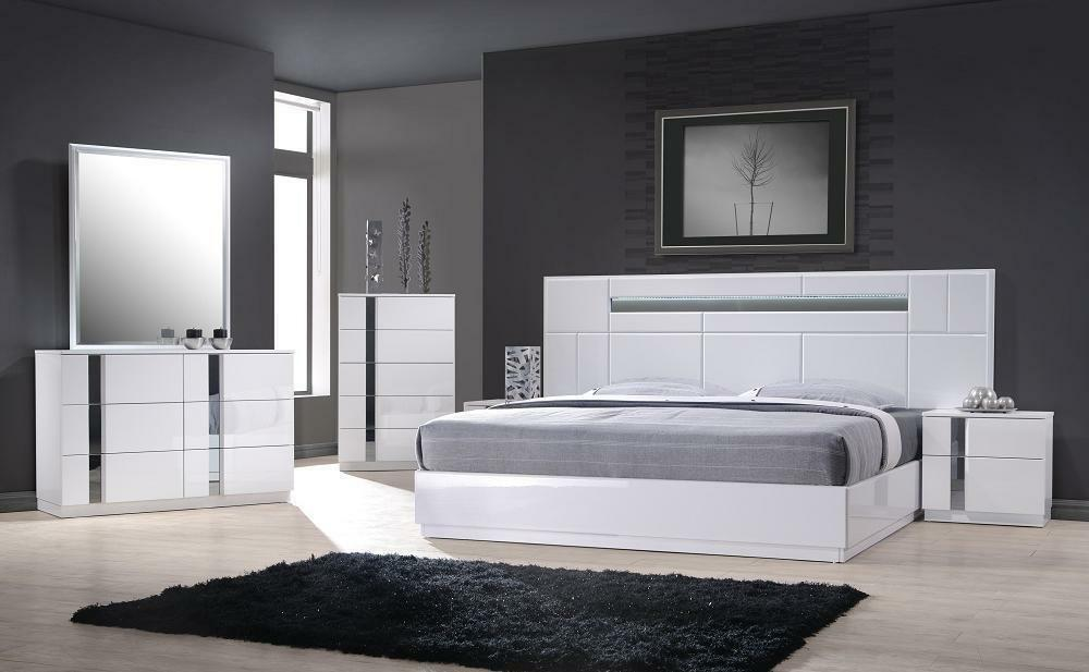 Monte carlo queen size white lacquer chrome 5pc bedroom - Queen size bedroom furniture sets ...