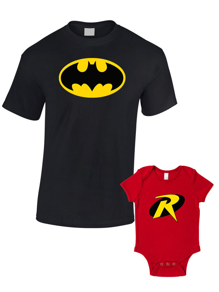 Batman And Robin Bundle T Shirt Baby Grow Father Son