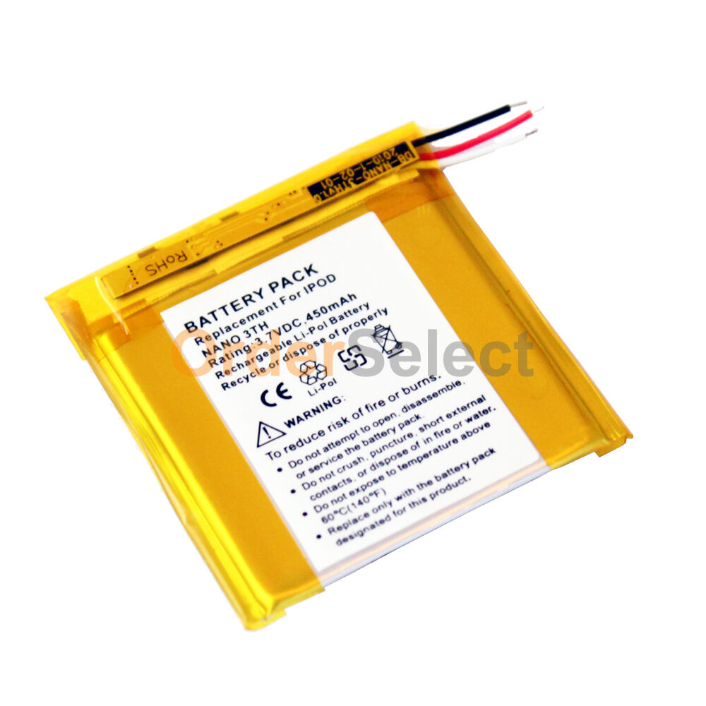 new replacement battery 450mah for apple ipod nano 3 3rd. Black Bedroom Furniture Sets. Home Design Ideas
