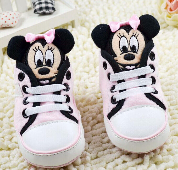 Baby Girls 3D Minnie Pink Mouse Crib Shoes Soft Sole