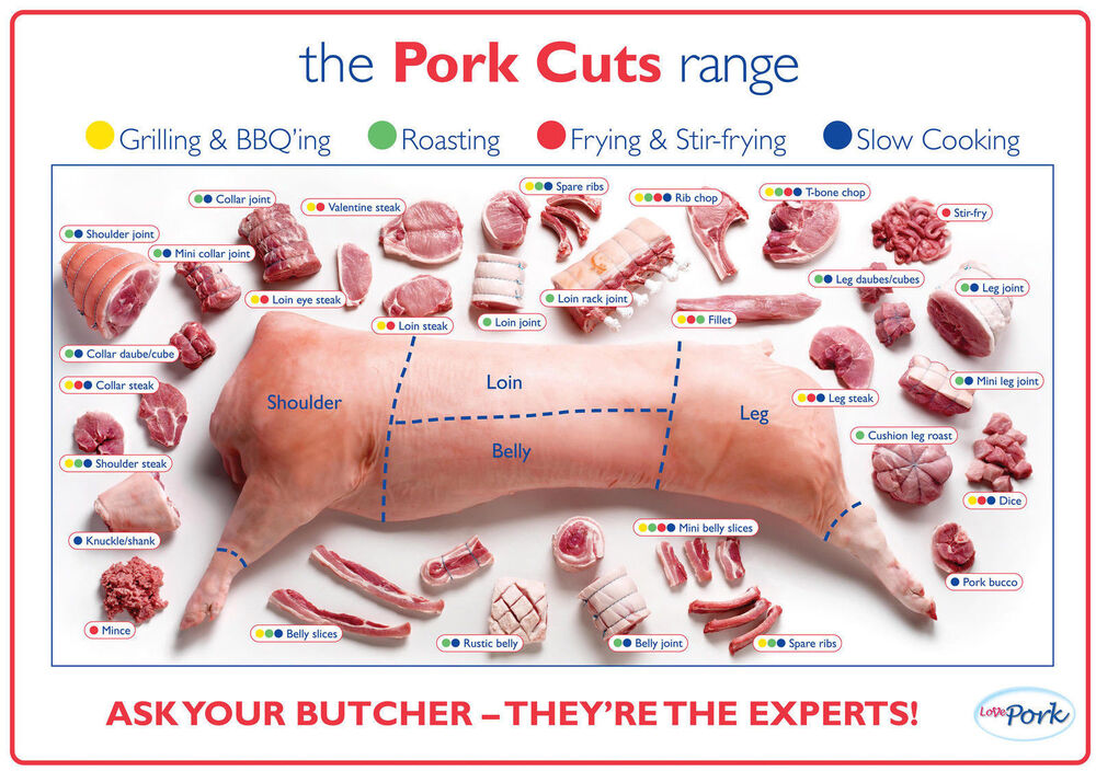 Pork Cuts Pig Diagram Poster High Quality Silk Wall Poster