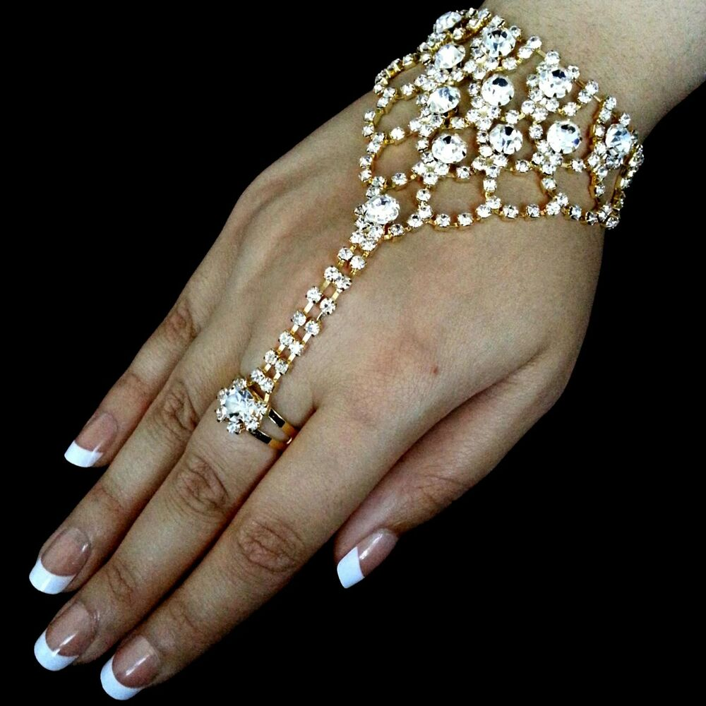 bollywood handkette armband mit ring kette handschmuck strass hochzeit gold ebay. Black Bedroom Furniture Sets. Home Design Ideas