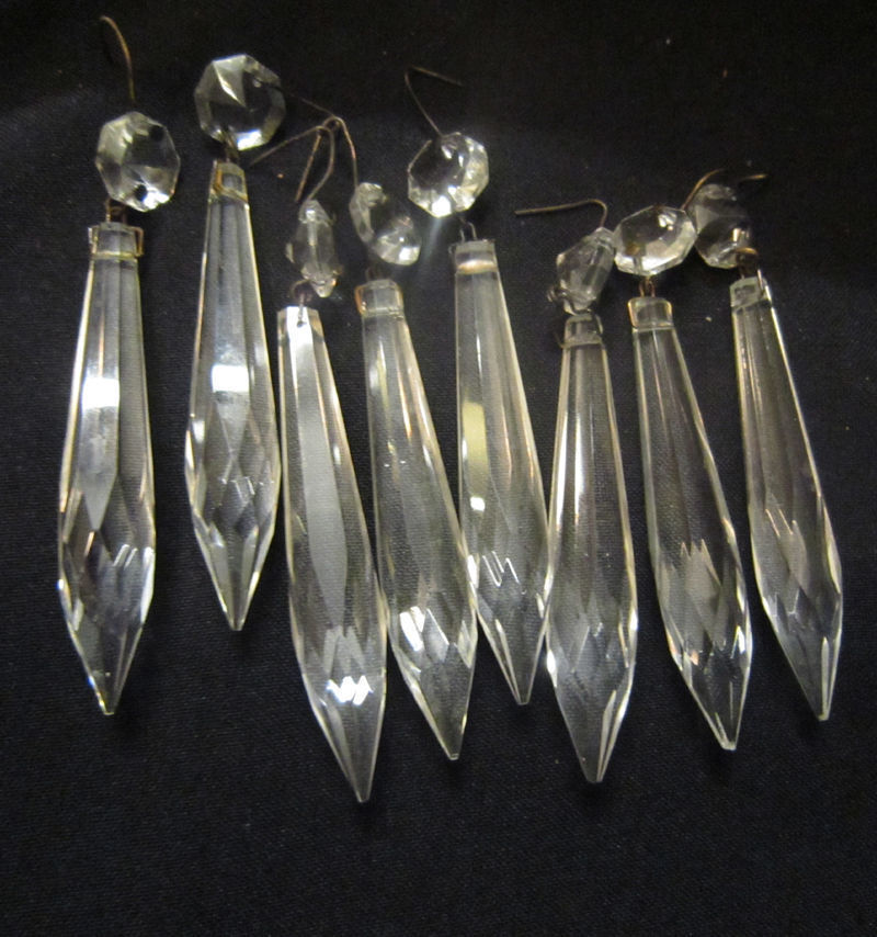 Antique Wall Light Parts : 50pc vintage hanging French U-drop Crystal Glass Prism Lamp wall sconce Parts eBay