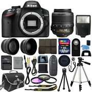 Nikon D3200 Digital SLR Camera Body 3 Lens Kit 18-55mm Lens + 32GB Best Value