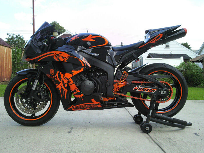 Gloss Black W Orange Fairing Injection For 2007 2008