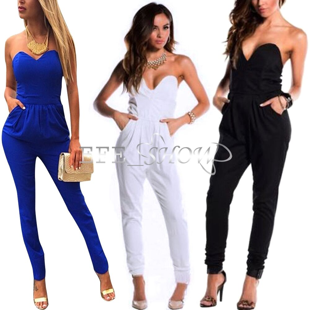 sexy damen overall jumpsuit catsuit hosenanzug schwarz blau oder weiss gr 34 46 ebay. Black Bedroom Furniture Sets. Home Design Ideas
