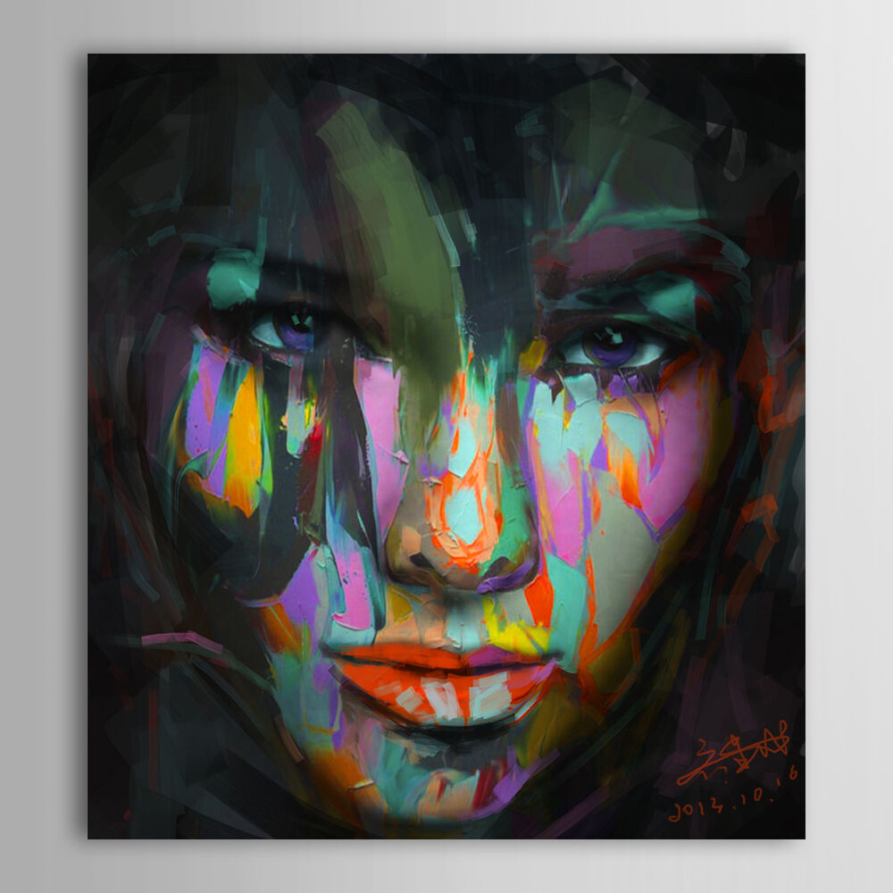 New modern canvas wall art abstract oil painting lady face for Hand painted portraits from photos