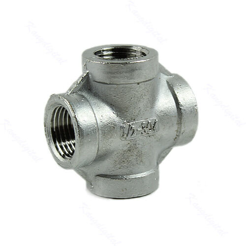 Female pipe fitting thread cross coupling stainless steel