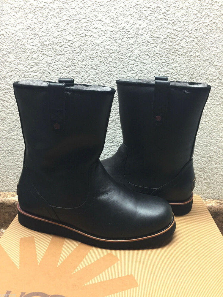 ugg stoneman black leather boot us 8 eu 40 5 uk 7