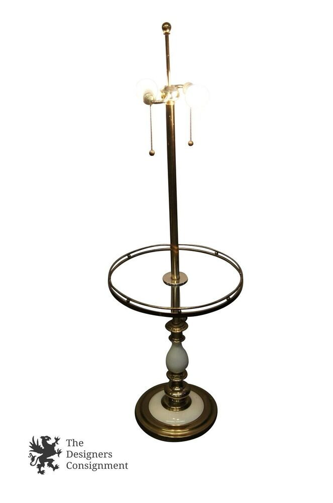 Vintage Retro Floor Lamp Porcelain Amp Brass Accents Reading