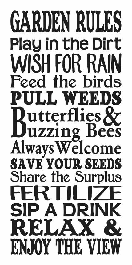 Spring summer stencil garden rules large 12 x24 for for Quote stencils for crafts