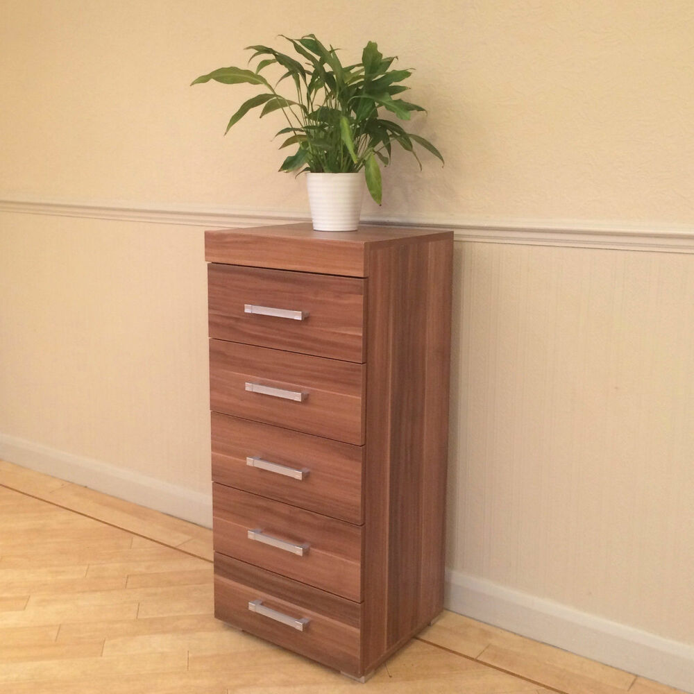 Walnut effect tall boy chest of 5 drawers bedroom for Narrow bedroom furniture