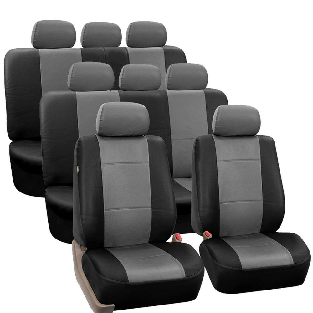 gray black premium pu leather 8seater 3 row full set seat covers split bench ebay. Black Bedroom Furniture Sets. Home Design Ideas