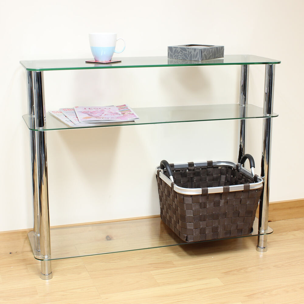 hartleys 3 tier clear glass side console table shelf unit. Black Bedroom Furniture Sets. Home Design Ideas