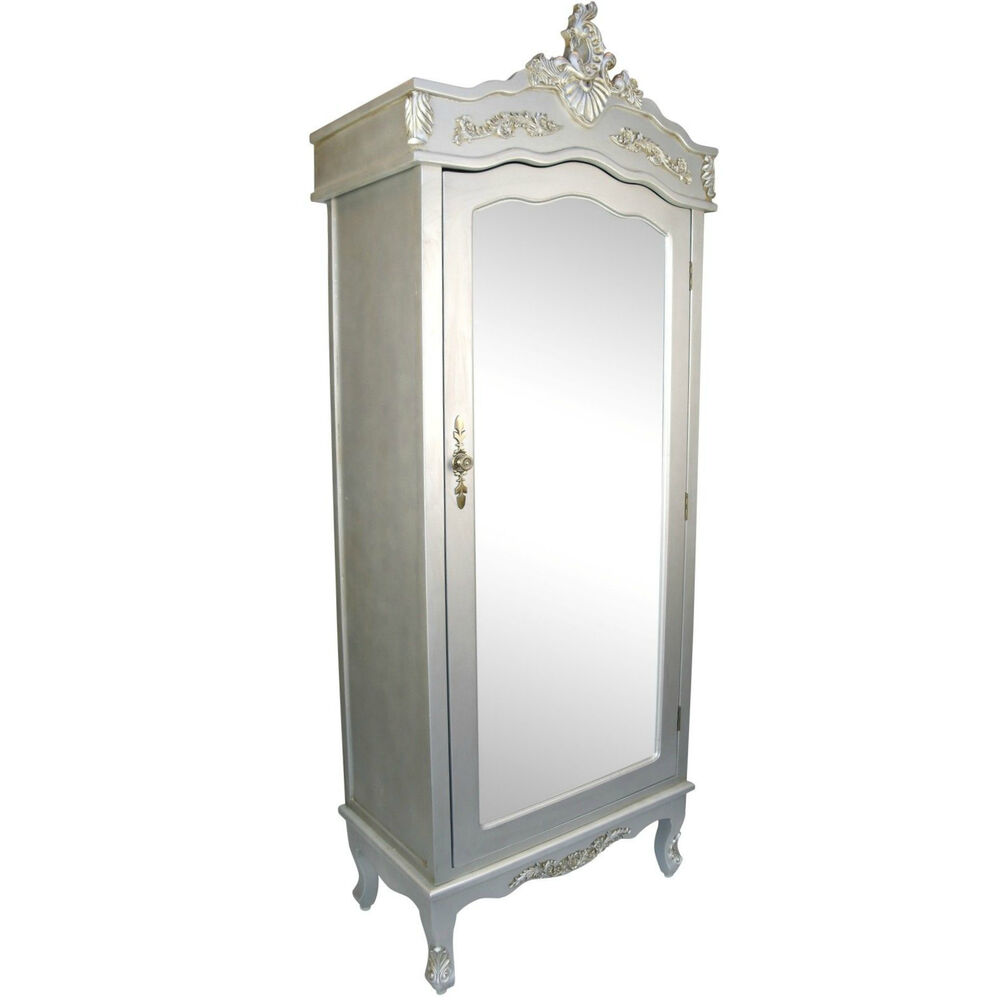 French Silver Chateau Single Armoire with Full Mirror Door ...