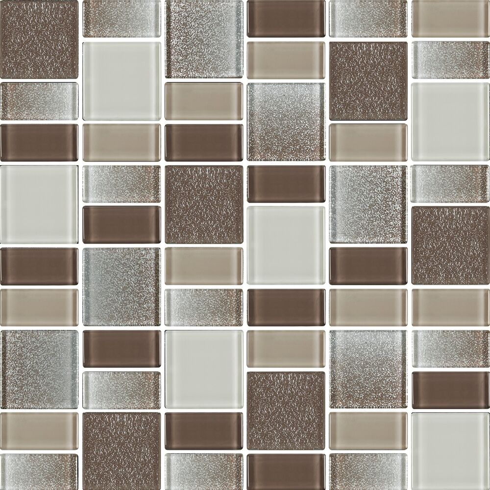 Fusion brown glass mosaic tiles backsplash bathroom tile squares rectangles ebay Backsplash mosaic tile