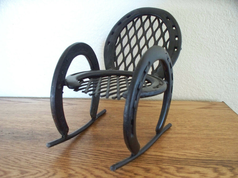 Horse shoe rocking chair equestrian art doll rocker for How to decorate horseshoes