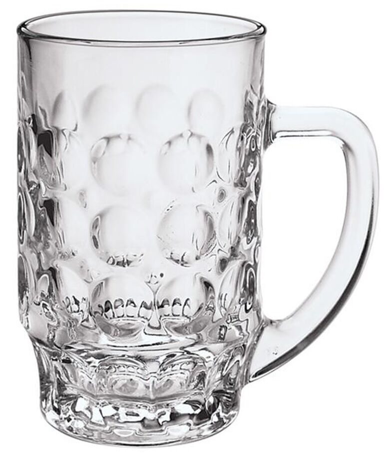 6 large glass beer mugs beer tankards strong glass with. Black Bedroom Furniture Sets. Home Design Ideas