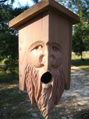 Hand Carved Cedar Birdhouse Wood Spirit Face Hdown Ebay
