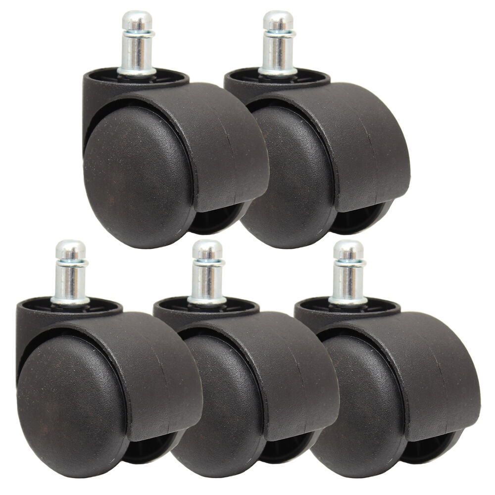 5 new black replacement castor wheels computer office for Office chair casters