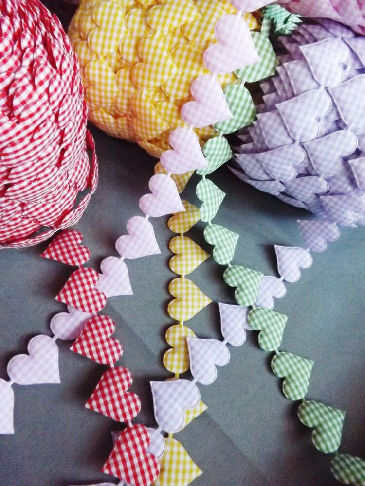 Vintage gingham ribbon heart cotton trim craft cards patch for Craft ribbons and trims