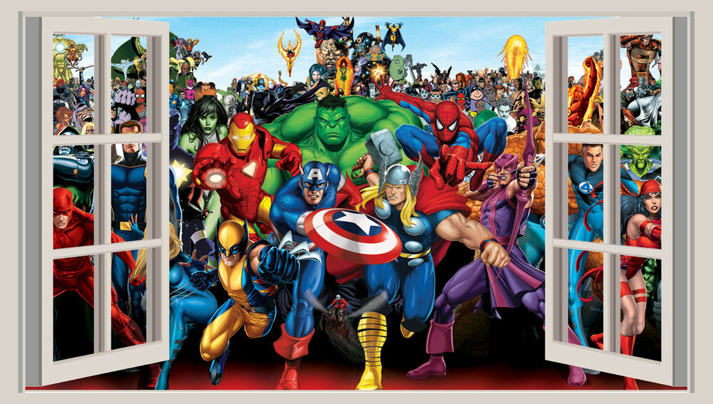 HUGE 3D WINDOW WALL ART STICKER   MARVEL HEROES Decal Vinyl Wallpaper | EBay