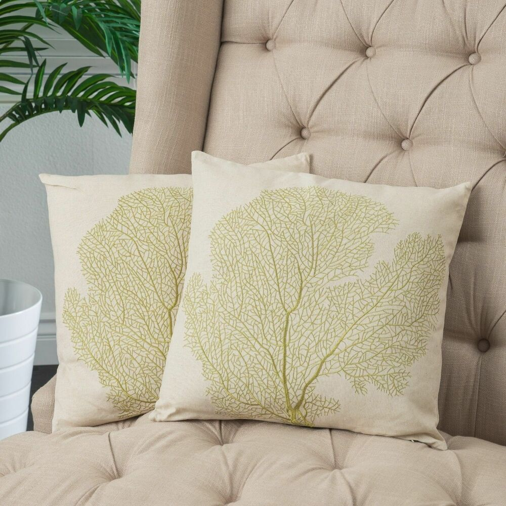 "Home Decor 18"" Embroidered Tree Beige Linen Blend Throw"