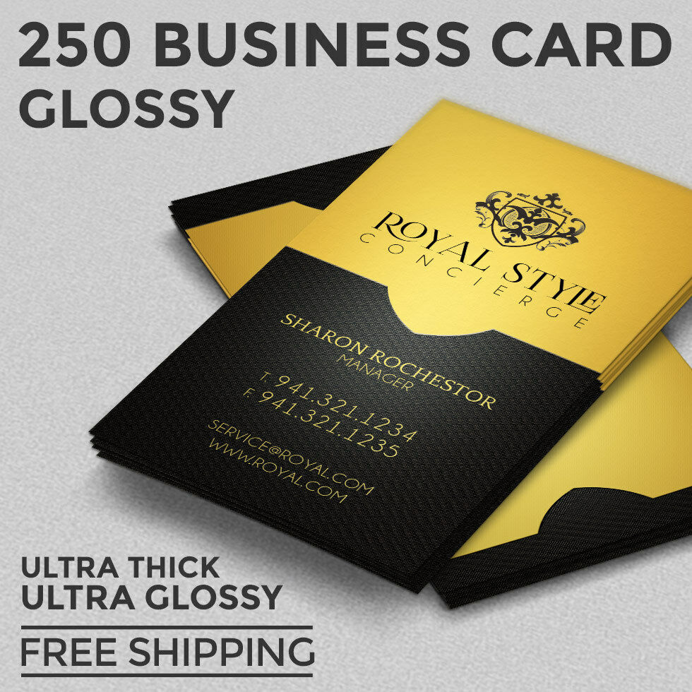 250 Business Card Printing - Custom - 16pt - Ultra Glossy (UV Coated ...