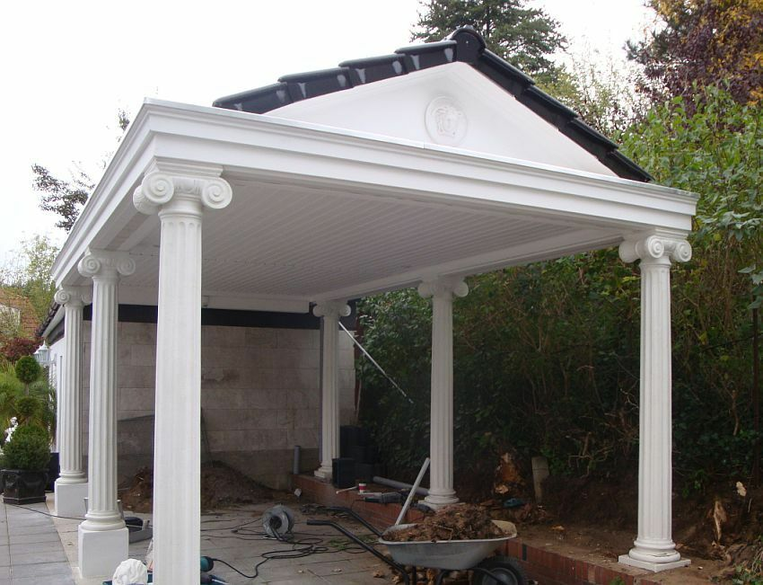 carport klassisch mit 6 s ulen 3 5 x 6 m spitzdach gedeckt inkl montage luxus ebay. Black Bedroom Furniture Sets. Home Design Ideas