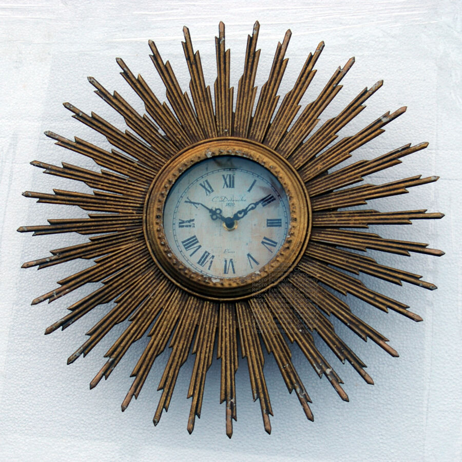 Sunburst Gold Wall Clock Vintage Retro Style Distressed 60