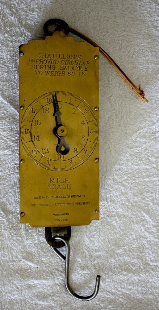 vintage lg chatillons brass farmers milk scale spring