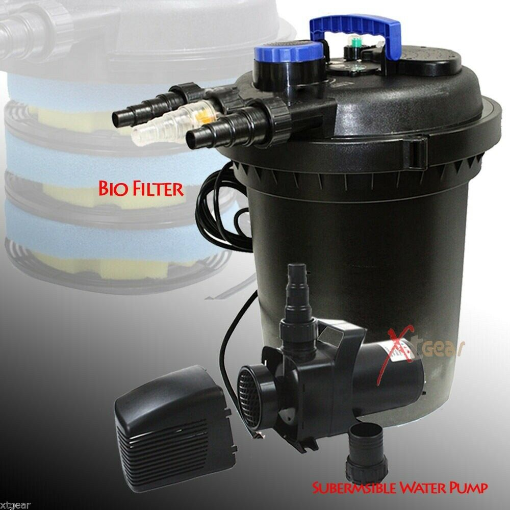 Koi pond pressure bio filter 10000 liter w 3434gph 120v for Pond pump filter