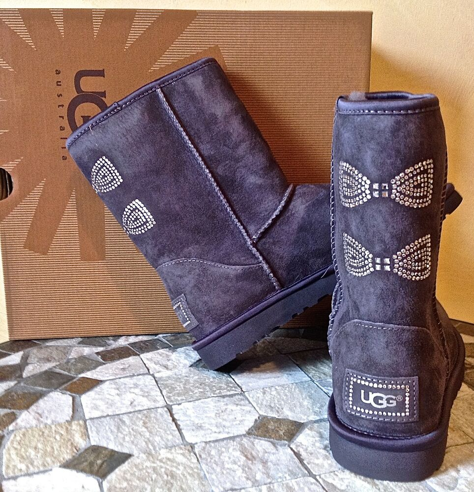 ugg australia classic short crystal bow boots grey. Black Bedroom Furniture Sets. Home Design Ideas