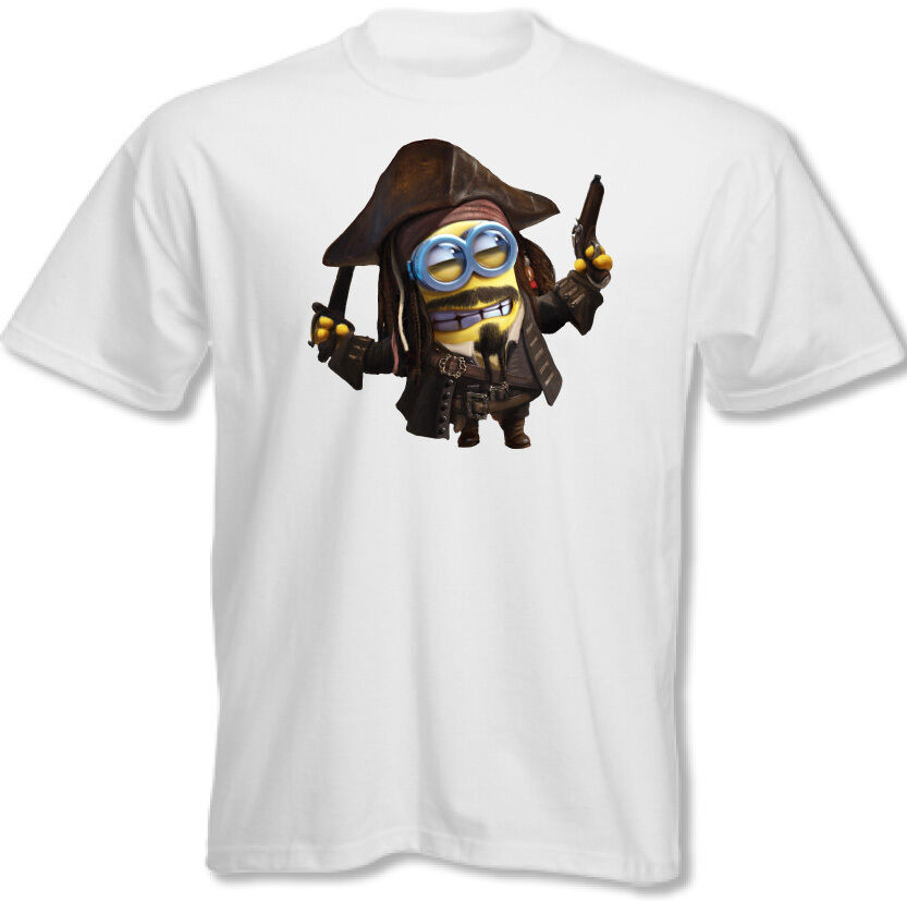 captain jack sparrow mens funny t shirt minion pirates of. Black Bedroom Furniture Sets. Home Design Ideas