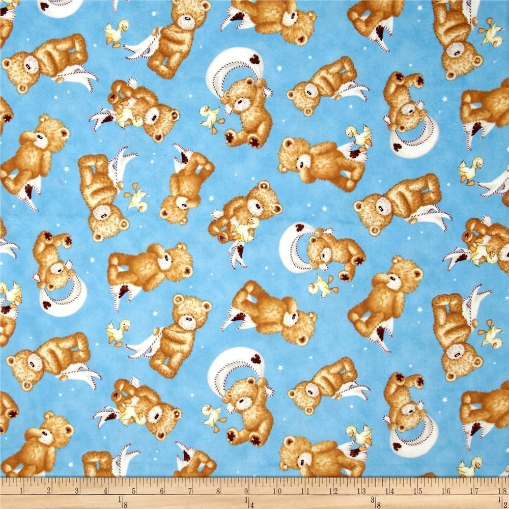 Popcorn the bear blankie duck on blue cotton quilt for Childrens quilt fabric