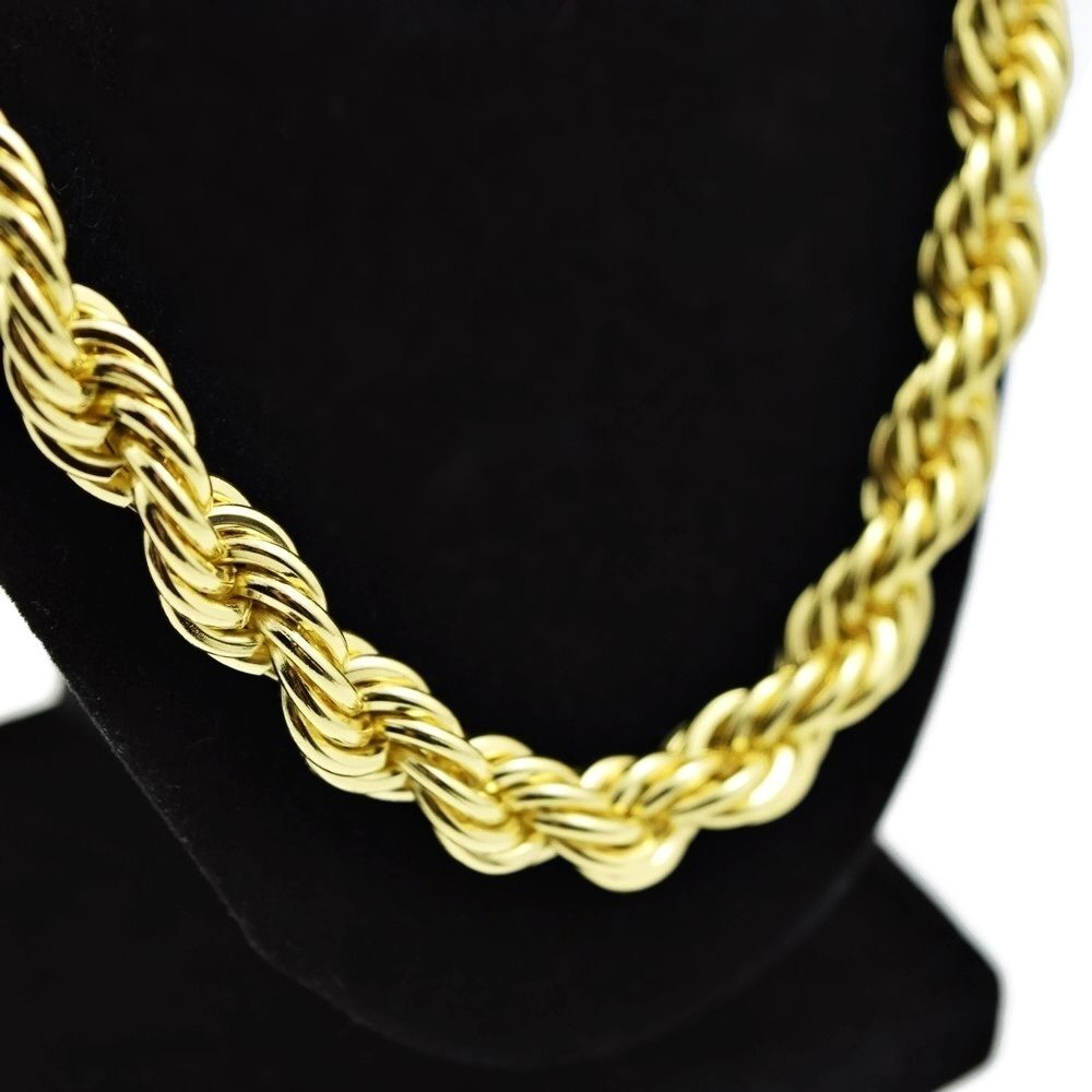 rope chain 30 inch x 10 mm gold finish twisted heavy