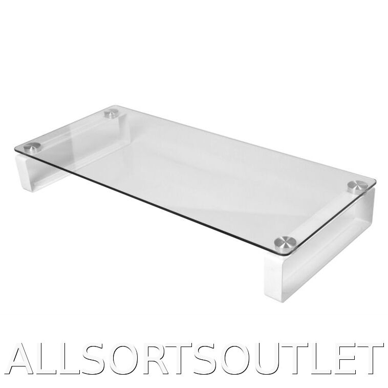 Large Clear Glass Tv Monitor Imac Stand Shelf Xbox Ps3 Ps4