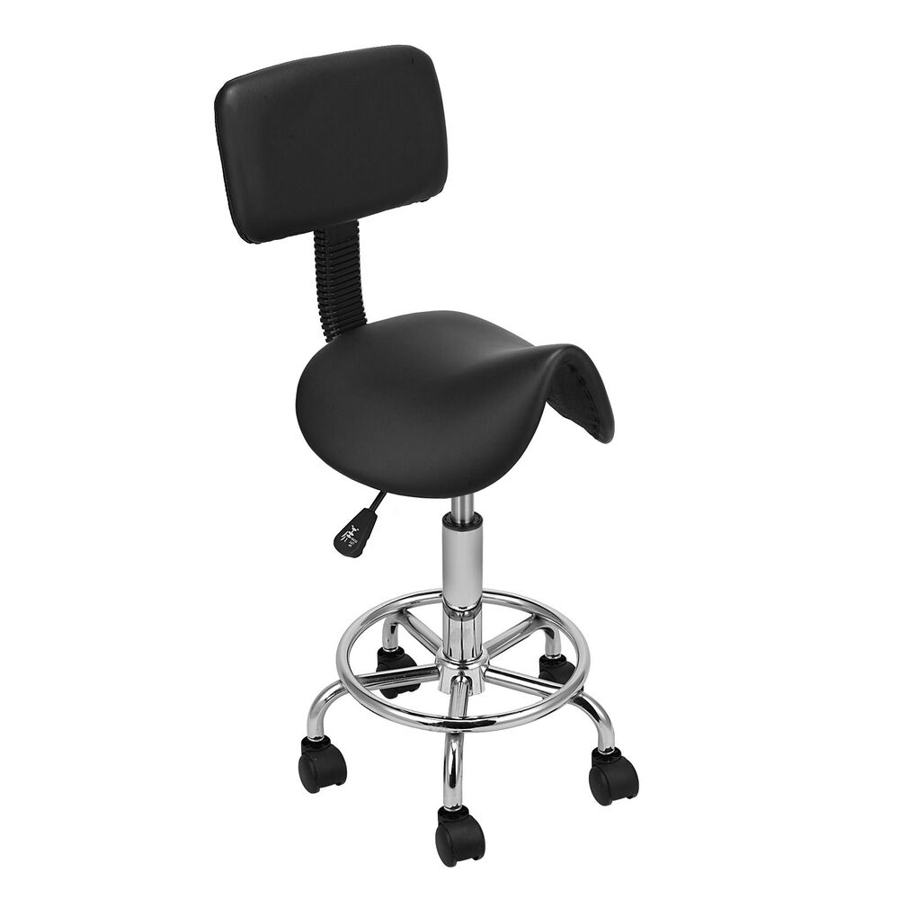 black saddle stool chair back cushion tattoo doctor