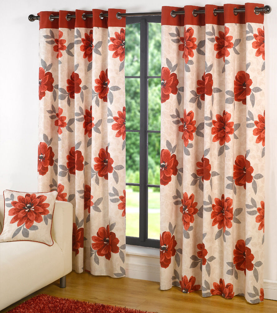 Eyelet Ring Top Curtains Annabelle Poppy Red Bargain Price | eBay