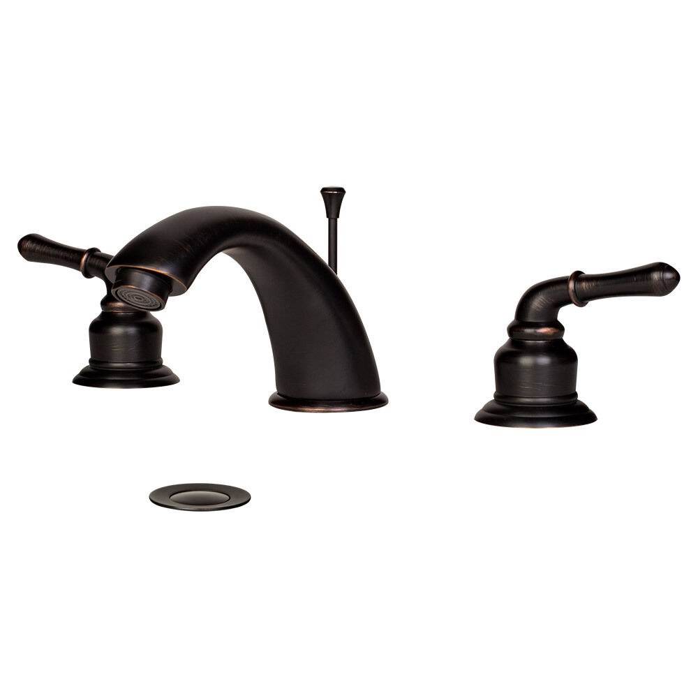 Oil Rubbed Bronze Roman Widespread Bathroom Sink Vanity Faucet w\/ Popup Drain  eBay