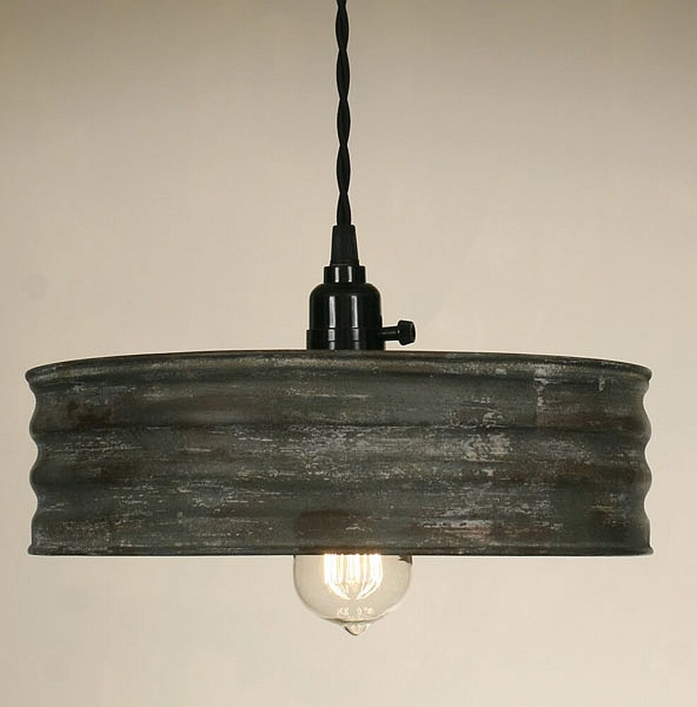 Old Industrial Pendant Light: Vintage Rustic Primitive Industrial SIFTER Pendant Light