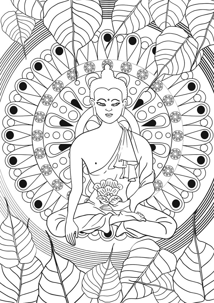 adult coloring book for buddhist healing meditation anti stress buddha statue 9788997336814 ebay. Black Bedroom Furniture Sets. Home Design Ideas