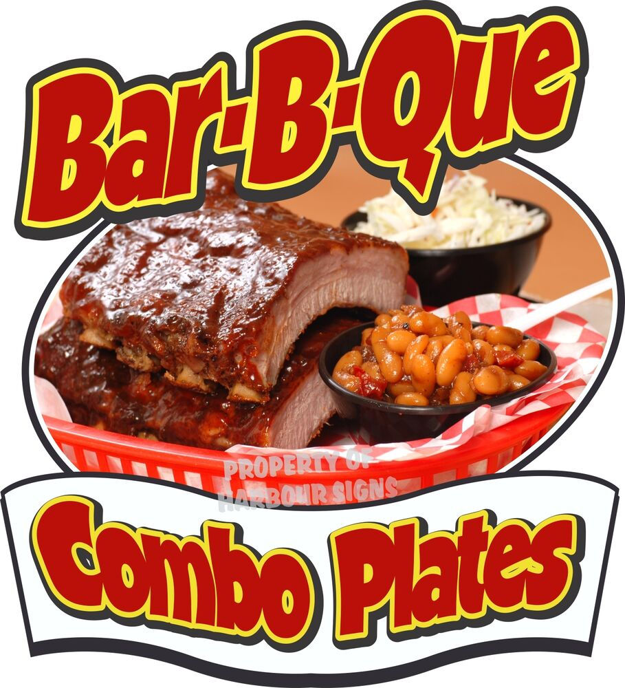 Bar b que combo plates decal 8 bbq barbeque restaurant for Food for bar b q
